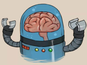 Cartoon of a brain under a glass dome with old robot arms