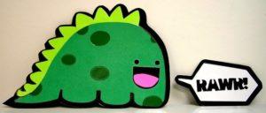 Green cartoon dinosaur saying Rawr