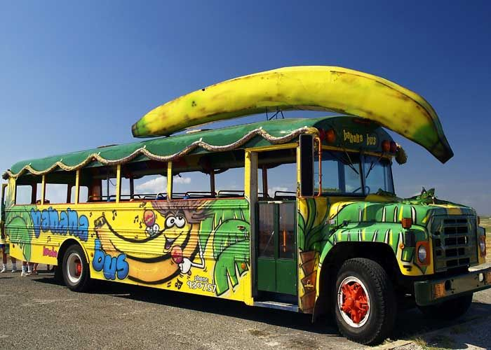 Bus with giant banana on top