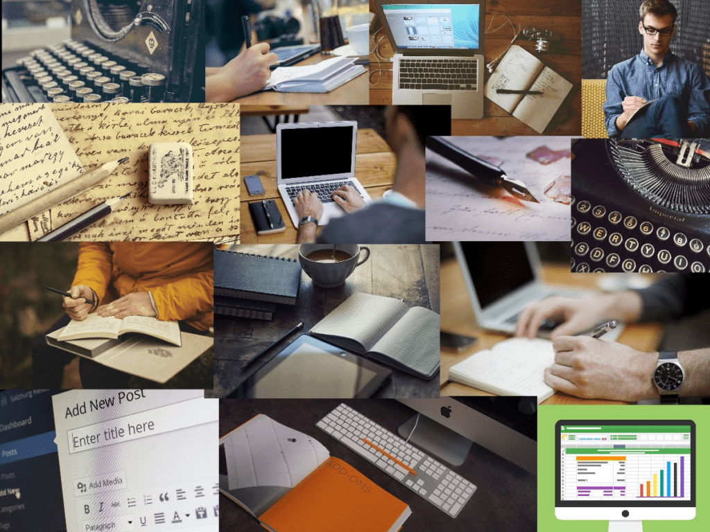 Collage of writing instruments and methods