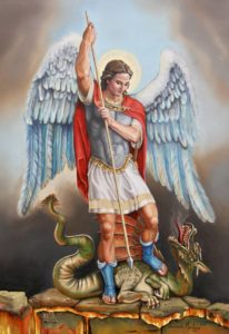 St. Michael about to slay a dragon