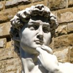 Close-up of the face of the statue of David