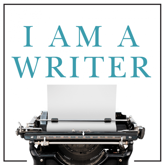 Typewriter with the text I am a writer above it