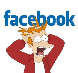 Fry from Futurama pulling his hair out over the Facebook logo